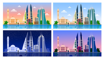 Manama. Bahrain. Panoramic view. Night and day, dawn and sunset. City skyline for flyear, magazines, posters, book cover, horizontal banners and guide book. Vector flat illustrations