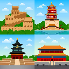 Travel to China. Cityscape, temple and buildings, landmarks and attraction. Square vector illustration