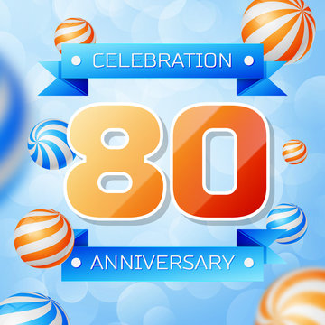 Realistic Eighty Years Anniversary Celebration design banner. Gold numbers and blue ribbons, balloons on blue background. Colorful Vector template elements for your birthday party