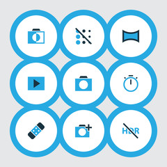 Picture icons colored set with photographing, high dynamic range, panorama and other blur off