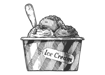 Ice Cream served in paper bowl