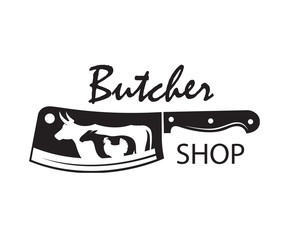 monochrome butcher shop emblem of kithen knife, sheep, cow and chicken