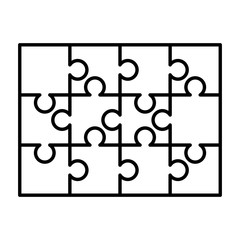 12 white puzzles pieces arranged in a rectangle shape. Jigsaw Puzzle template ready for print. Cutting guidelines on white