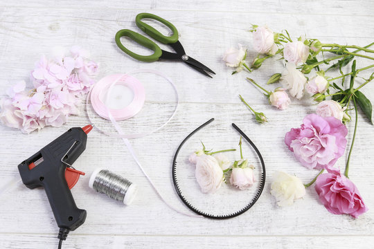 How to make flower crown with roses, eustoma  Wedding decoration ideas. Tutorial.