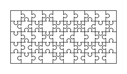 50 white puzzles pieces arranged in a rectangle shape. Jigsaw Puzzle template ready for print. Cutting guidelines isolated on white