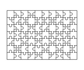 70 white puzzles pieces arranged in a rectangle shape. Jigsaw Puzzle template ready for print. Cutting guidelines on white