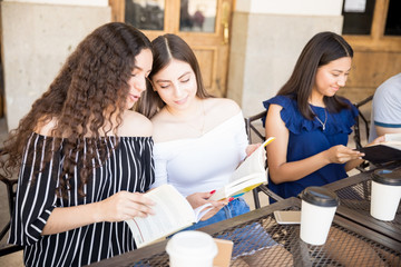 Teenage friends enjoying reading books at cafe