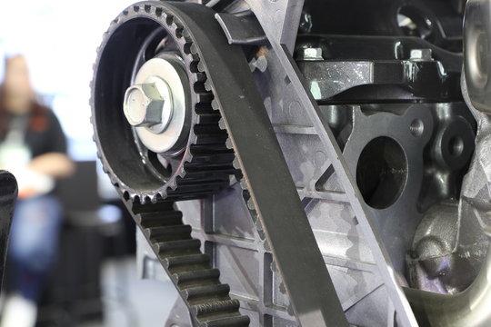 Diesel Engine close up at timing belt  that transmit mechanical engine ; automotive industrial background ; pick up truck