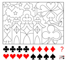 Logic puzzle game. Find four times of each card suits hidden in the picture and paint them. Worksheet page for children and adults. Vector image.