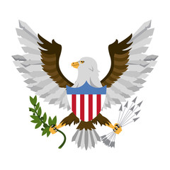 Eagle with arrows and leaves vector illustration graphic design