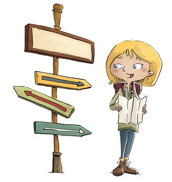 niña exploradora con señal y mapa