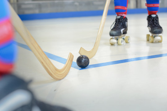Closeup of roller hockey game