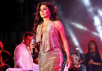 Lebanese pop singer Elissa performs at Beirut waterfront