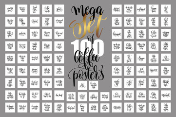 set of 100 hand lettering quotes about coffee drink