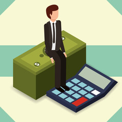 businessman sit on stack banknote and calculator money vector illustration isometric