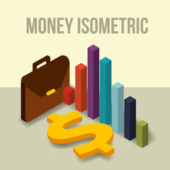 business briefcase diagram and dollar money vector illustration isometric