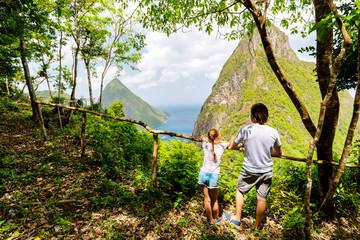 Family enjoying view of Piton mountains