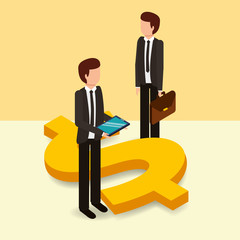 businessmen with briefcase and mobile dollar symbol money vector illustration isometric