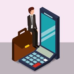 businessman smartphone briefcase calculator money vector illustration isometric