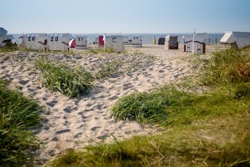 Sun chairs at german north sea beach