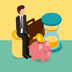 businessman on pile coins piggy bank hourglass and briefcase money vector illustration isometric