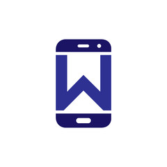 W Initial letter with Smart phone logo icon vector