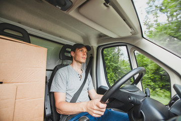 driver man driving delivery truck car vehicle, service of delivering package cargo, transportation occupation job