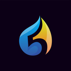 Five with water droplet gas industry logo icon vector