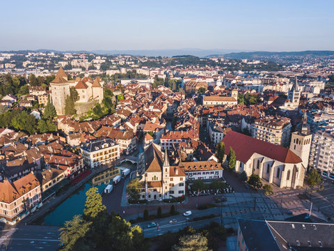 aerial panoramic view of Annecy city, France, historical architecture of old town center, beautiful cityscape