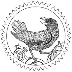 Vector illustration of raven cogwheel coin black and white