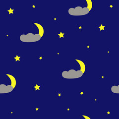 Cloud and Moon Seamless Pattern. Vector Illustration.
