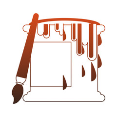 Paint bucket and brush vector illustration graphic design