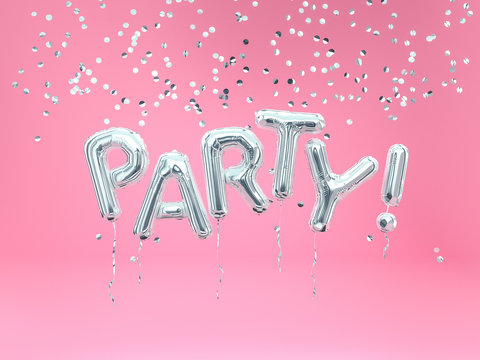 Silver foil balloon Party letters, flying word party and falling confetti