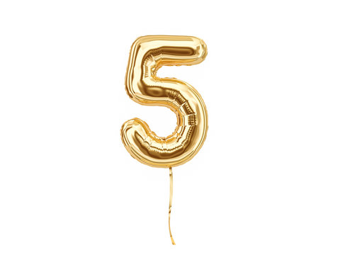Numeral 5. Foil balloon number five isolated on white background