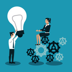 Business people on gears with big idea vector illustration graphic design