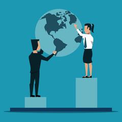 Business people holding world on statistics bars vector illustration graphic design