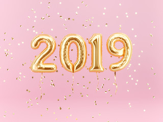 New year 2019 celebration. Gold foil balloons numeral 2019 and confetti on pink background.