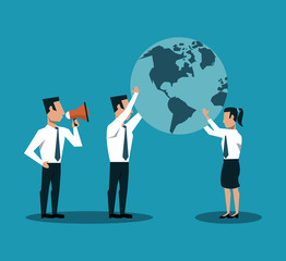 Business teamwork holding world and boss screaming with bullhorn vector illustration graphic design
