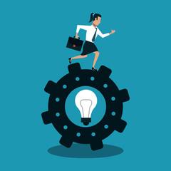 Businesswoman running on big idea inside gear vector illustration graphic design