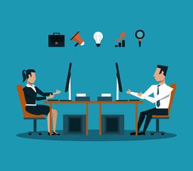Business teamwork woking with computer on digital marketing vector illustration graphic design