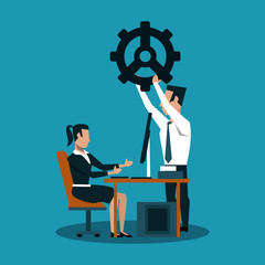 Businessmna holding big gear and businesswoman on computer vector illustration graphic design