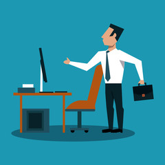 Businessman with briefcase at office vector illustration graphic design