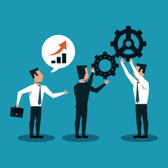 Businessmens working with gears cartoons vector illustration graphic design