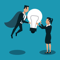 Businessman flying with bulb and woman receiving big idea vector illustration graphic design