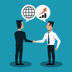 Businessmens shaking hands and talking about business vector illustration graphic design