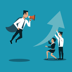 Boss flying and screaming with bullhorn to business teamwork vector illustration graphic design