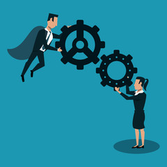 Businessman flying and businesswoman working with gears vector illustration graphic design