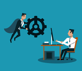 Businessman flying and holding gear and man working on computer vector illustration graphic design