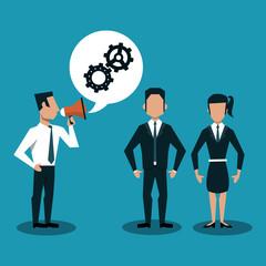 Businessman boss with bullhorn talking to business teamwork vector illustration graphic design