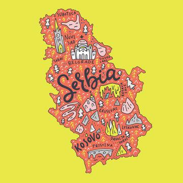 Cartoon Serbia Map